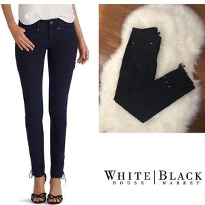 WHBM Navy Cargo Skinny Jeans, Laceup Side Ankles